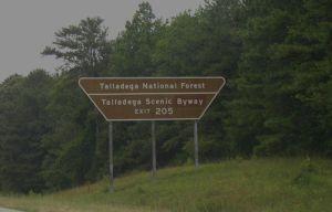 talladega national forest sign