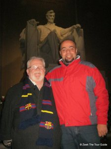 Zeek and me at the Lincoln Memorial in Washington, DC